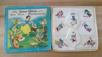 Disney Snow White and the Seven Dwarfs Handkerchiefs, Vintage 1938, original box