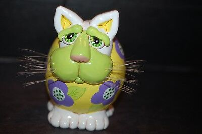 Cat Gourd Figure Vicki Thomas Signed Unesco 2000 Chubby Cat Green Face