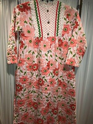 Vintage 70's Girls Quilted Robe Housecoat Button Down Pink Flowers Size 14