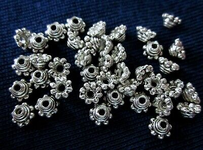 50 Antique Silver Coloured Bead Caps 5mm x 3mm #bc944 Jewellery Making Findings