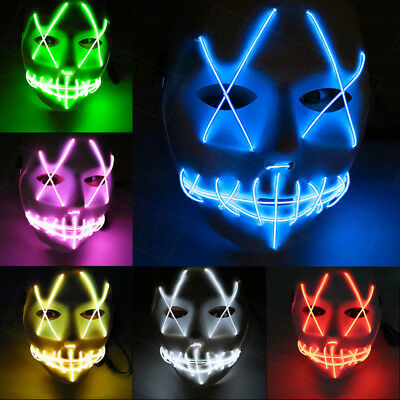 """LED Light Up Mask El Wire """"Smiling Stitched""""  Halloween Rave Cosplay Edm Purge"""