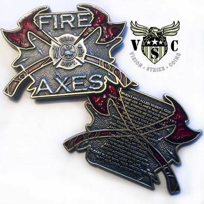 Fire and Axes Prayer Firefighter Challenge Coin