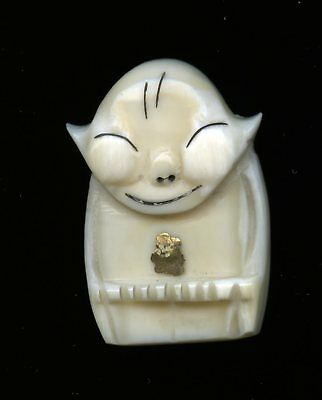 Old Inuit Carved Caribou Bone Billiken Pin Brooch with Gold Nugget & POST CARD
