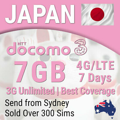 Japan 7 days Travel Data Sim card 4G - 7GB, 3G Unlimited | NTT Docomo | Three