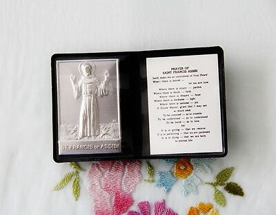 Catholic Pocket Folder Metal Plaque ST. FRANCIS OF ASSISI with Peace Prayer