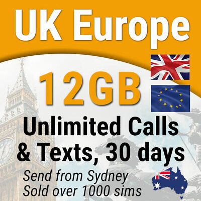 Europe UK Travel Prepaid SIM Card, 12GB data, Unlimited Calls & SMS, 30 days