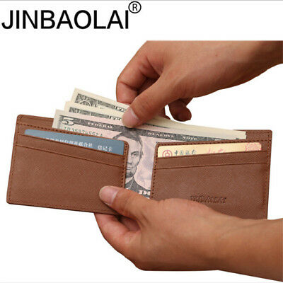 Mens Simple Style Bifold Faux Leather Slim Wallet ID Zipper Coin Card Holder LG