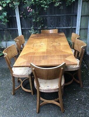 Superb Art Deco Walnut Dining Table  Chairs Made  By Inglesants