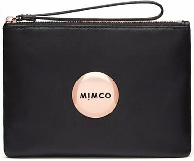 MIMCO LOVELY Medium Pouch Matte BLACK Leather ROSE GOLD Logo BNWT - EXPRESS POST