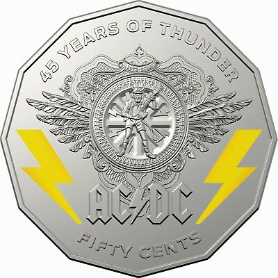 2018 AC/DC 45 Years of Thunder 50c Coloured Uncirculated Coin