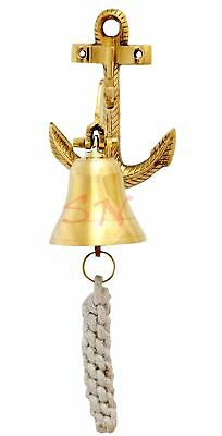 Hanging Ship Bell Solid Brass Wall ~Nautical Brass Anchor Door Bell Home Decor