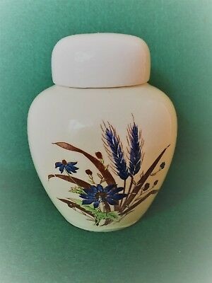 Vintage Cream with Blue Flowers Lidded Ginger Jar