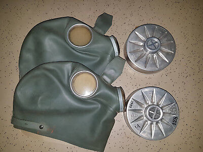 Lot of Two (2) Ww2 Collectible Gas Masks Helmet Style Rubber / Gummi Snoot Mask