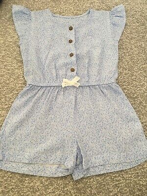 Matalan girls blue floral playsuit size 3-4 years
