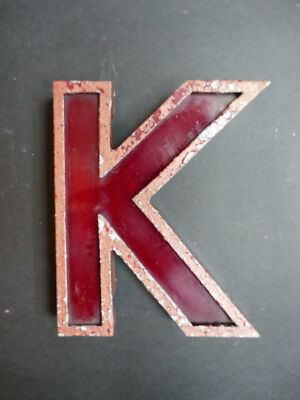 Awesome vintage 1940/50s distressed cinema letter K metal & perspex - 20cm tall