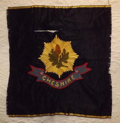 Vintage Hand Embroidered Tapestry on Silk CHESHIRE Regiment Emblem Colours Flag
