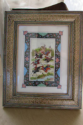 Vintage Persian Khatam Marquetry Hand Painted Picture & Frame - Playing Polo