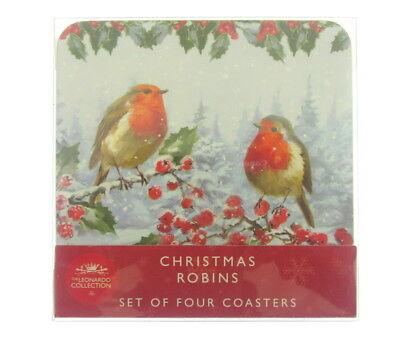 Lesser and Pavey 4 X Winter Scene Robins on holly  Christmas coasters drinks mat
