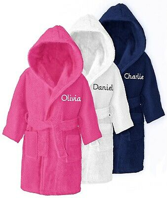 Personalised Children's Hooded Toweling Bathrobe Kids Dressing Gown Age 4-14