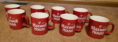 Vintage Set Of 8 Maxwell House Red Coffee Cups Good To The Last Drop Lot England