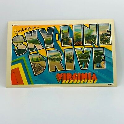 Postcard Virginia Greetings from Skyline Drive Linen B-15m