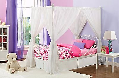 Princess Bed Frame Canopy Carriage Twin For S White Metal Scrolled Beds