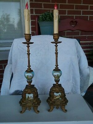 Pair Of Porcelain And Spelter Candle Stick Holders