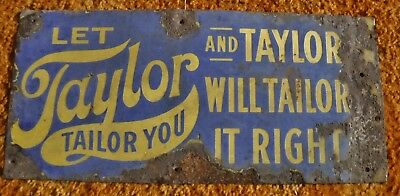 Antique Taylor Clothing Porcelain Sign Double Sided Overalls Shirts Pants 9x19.5
