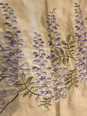 Beautiful Antique/vintage Large Embroidered Lined Silk Panel With Wisteria