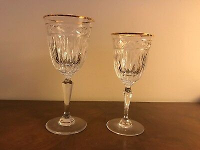 Rogaska Mayfair Gold w/Gold Rim Crystal Wine Glasses  and Water Goblets