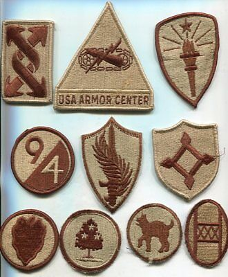 Lot of 10 Different US Army DCU Desert Tan Patches