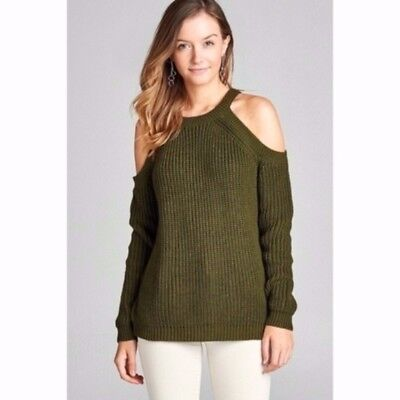 18fac0dda8ff2a NEW Womens Olive Green Chunky Ribbed Knit Long Sleeve Cold Shoulder Sweater