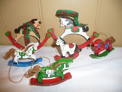 6 Piece Lot Vintage Wooden Rocking Horse Christmas Tree Collectible Ornaments