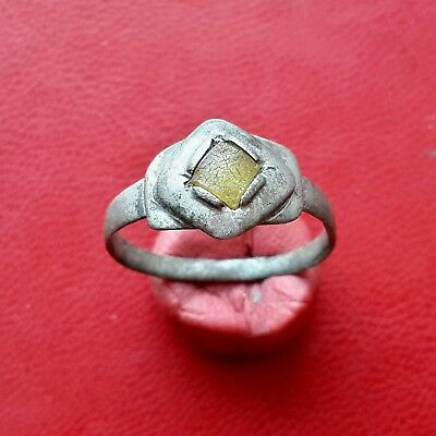 Pretty medieval silver ring with insert, 16-17 century