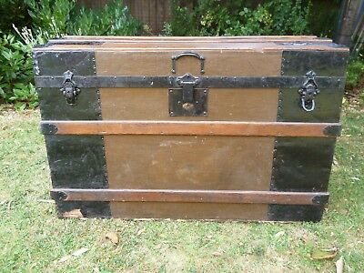 A Lovely Antique Late Victorian Domed Top Travel Trunk/Chest with Wooden Batons