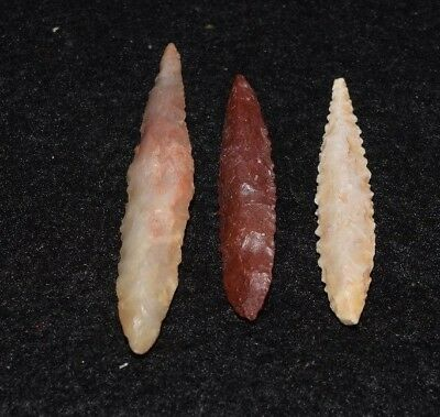 3 nice Sahara Neolithic ovate points, slim profile, serrations