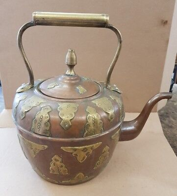 vintage copper and brass kettle large teapot ornate decorated