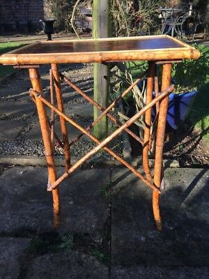 Small Victorian Antique Bamboo Side Table With Chinoiserie Top ( Great Example )