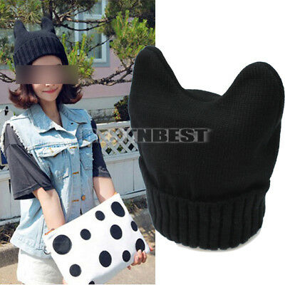 Black Womens Girls Cute Knit Cat Ear Ox Horn Beanie Warm Ski Hat Cap Winter New