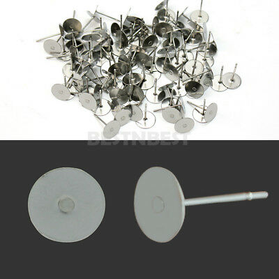 100x Silver Plated Steel Flat Pad Earring Post Stud Jewelry Findings DIY 8mm New