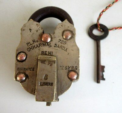 1930's Old Brass Solid Heavy Handcrafted 3 Tricky System Padlock Rich Patina