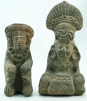 Two Pre Colombian Aztec Carved Volcanic Stone Figures With Headdress