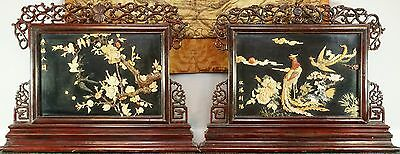 Pair Large Chinese Republic Period Hardstone And Jade Mounted Reversible Screens