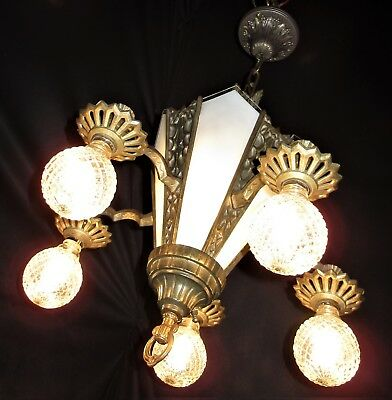 VTG ART DECO CAST IRON SLIP GLASS SHADE CEILING LIGHT FIXTURE CHANDELIER 1930's