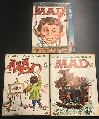 Mad Magazine Lot of 3 Vintage issues #50 #55 & #76 From Personal Collection