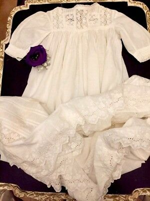 Antique Victorian Baby Gown Cotton Lawn Broderie Anglaise trim day dress 1800s