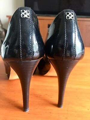 7dbd3d4052e COACH BLACK PATENT Leather Waverly Mid Heel Pumps -  64.95