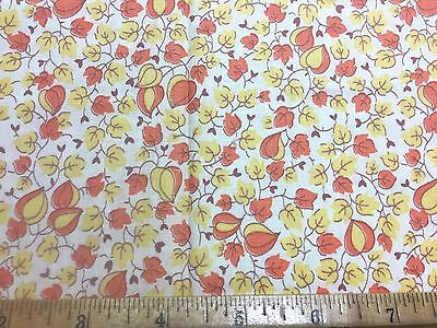 Vintage Cotton Fabric 30s40s SWEET Lil Yellow & Orange Flowers 35w 1yd