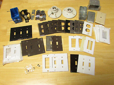 Mixed Lot Of 28 Metal & Plastic Outlet /light Switch Covers Used, Boxes,lights