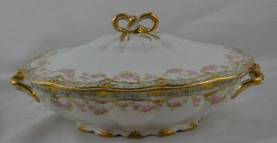 Haviland Limoges Schleiger 271A Double Gold Pink Rose Swags Round Vegetable Bowl